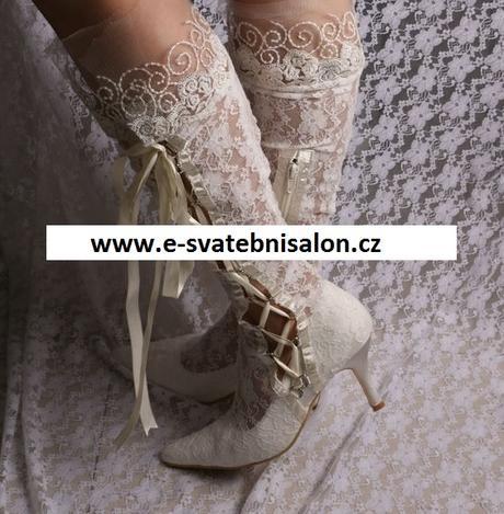 Bílé krajkové svatební kozačky, 34-42, 38