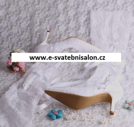 Bílé krajkové svatební kozačky, 34-42, 42