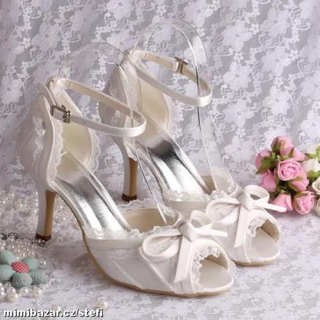 Bílé krajkové svatební lodičky, 34-42, 36