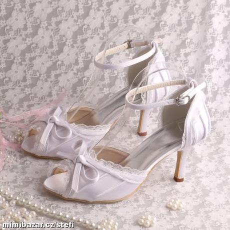 Bílé krajkové svatební lodičky, 34-42, 39