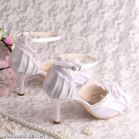 Bílé krajkové svatební lodičky, 34-42, 41