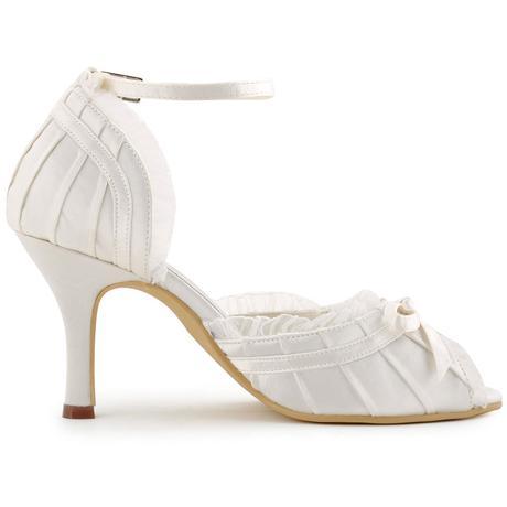 Bílé krajkové svatební lodičky, 35-42, 39