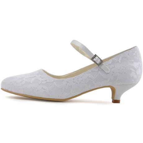 Bílé krajkové svatební lodičky, 35-42, 42