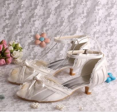 Bílé krajkové svatební lodičky, 4cm podpatek, 34-4, 37
