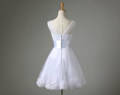 Bílé krátké svatební šaty, popůlnočky, XS-Xl, 42