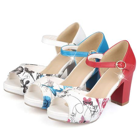 Bílé květované letní sandálky, 34-42, 37