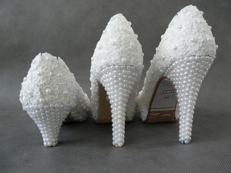 Bílé perličkové lodičky, reálné foto,10cm podpatek, 37