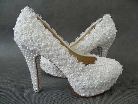 Bílé perličkové lodičky, reálné foto,10cm podpatek, 39
