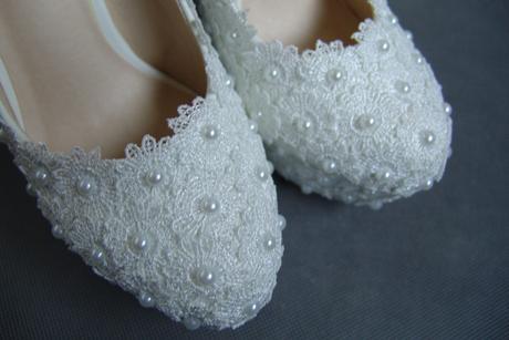 Bílé perličkové lodičky, reálné foto,12cm podpatek, 35
