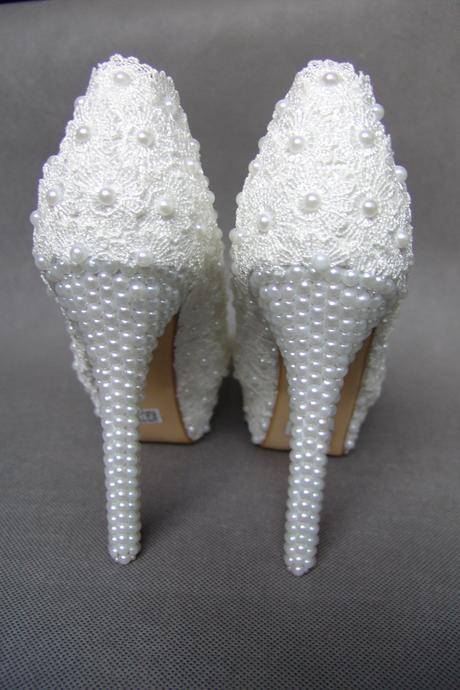 Bílé perličkové lodičky, reálné foto,14cm podpatek, 36