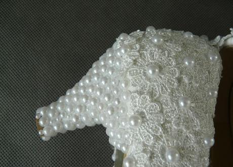 Bílé perličkové lodičky, reálné foto, 3cm podpatek, 35