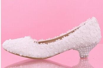 Bílé perličkové lodičky, reálné foto, 3cm podpatek, 36
