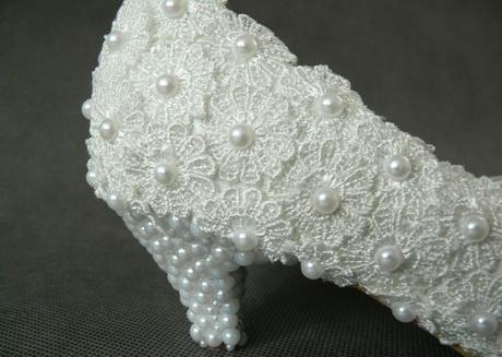 Bílé perličkové lodičky, reálné foto, 3cm podpatek, 37