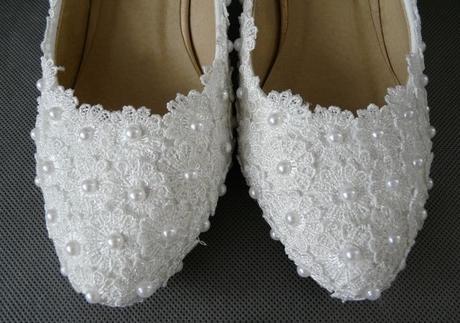 Bílé perličkové lodičky, reálné foto, 5cm podpatek, 35