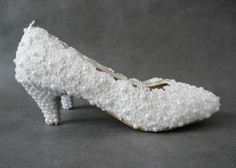 Bílé perličkové lodičky, reálné foto, 5cm podpatek, 36