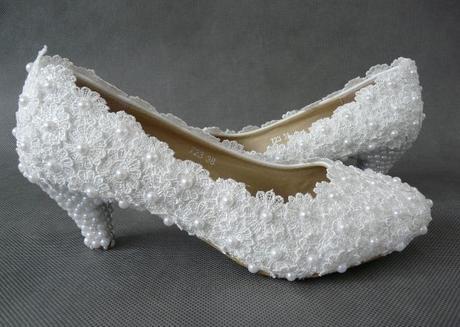 Bílé perličkové lodičky, reálné foto, 5cm podpatek, 37