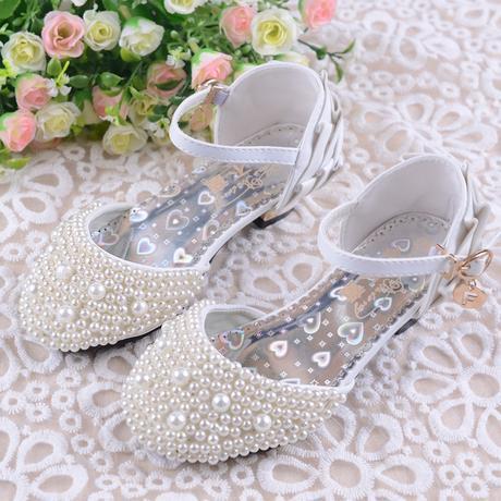 Bílé perličkové sandálky, družičky, 26-37, 26