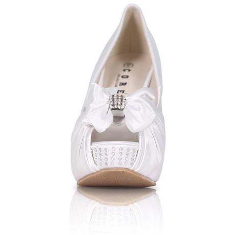Bílé saténové boty, vysoký klínek, 36-41, 39
