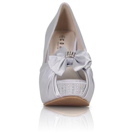 Bílé saténové boty, vysoký klínek, 36-41, 40