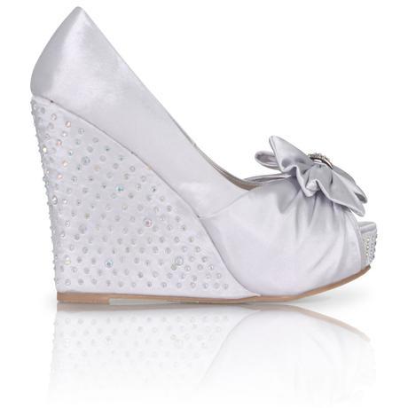 Bílé saténové boty, vysoký klínek, 36-41, 41