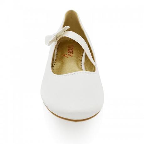Bílé saténové svatební baleríny s mašlí, 36-41, 38