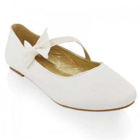 Bílé saténové svatební baleríny s mašlí, 36-41, 39