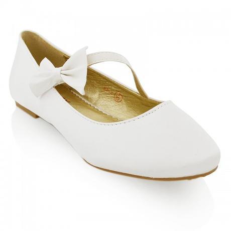 Bílé saténové svatební baleríny s mašlí, 36-41, 40