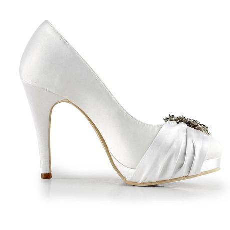 Bílé saténové svatební lodičky, 35-42, 35