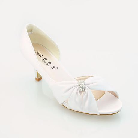 Bílé saténové svatební lodičky, sandálky, 36-41, 38