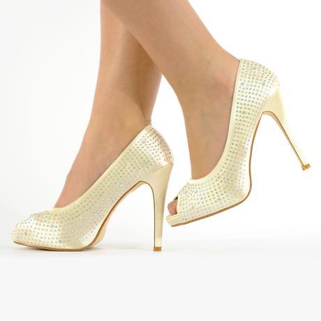 Bílé saténové svatební lodičky, sandálky, 36-41, 37