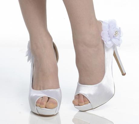 Bílé saténové svatební lodičky, sandálky, 36-41, 41