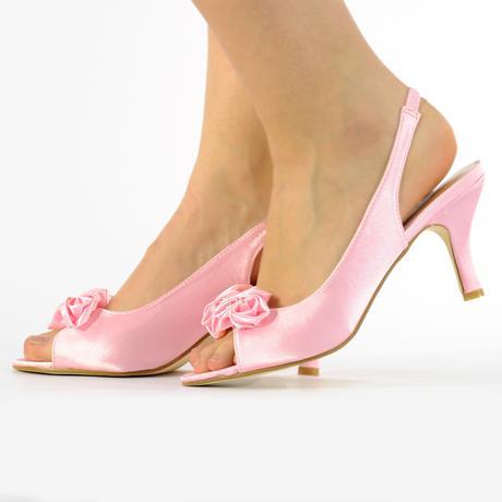Bílé saténové svatební lodičky, sandálky, 36-41, 40