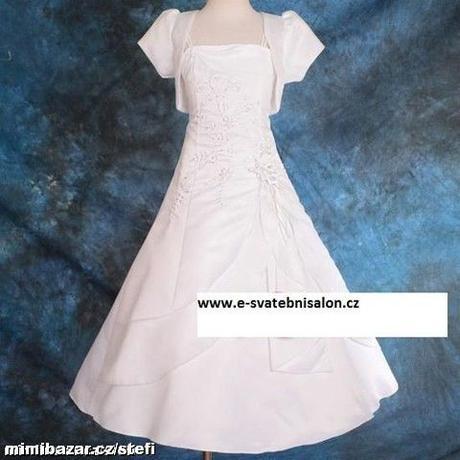 Bílé šaty pro družičky s bolerkem - 3-6 - půjčovné, 116