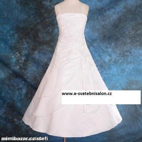 Bílé šaty s bolerkem - půjčovné, 140