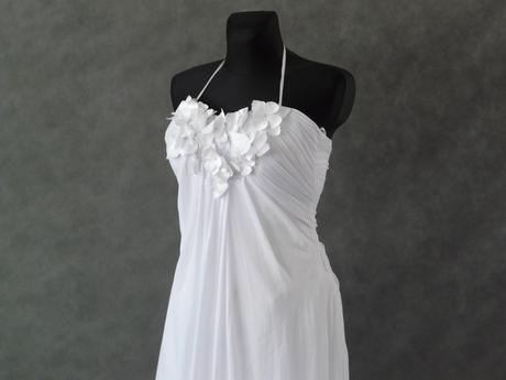 Bílé šifonové svatební šaty, XS-M, 38