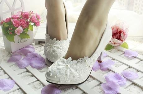 Bílé svatební balerínky - 35-41, 36