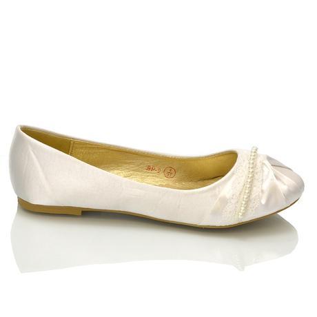 Bílé svatební balerínky, i nadměrné, 36-42, 37