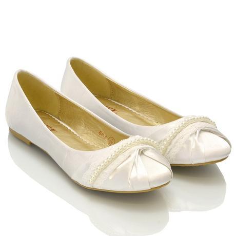 Bílé svatební balerínky, i nadměrné, 36-42, 40