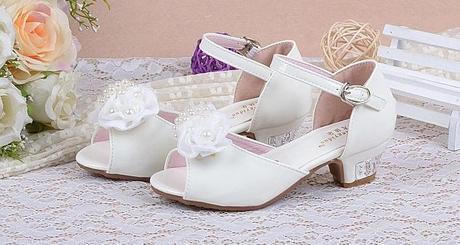 Bílé svatební dětské sandálky, 26-36, 35