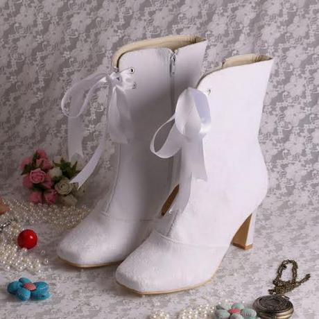 Bílé svatební kozačky, 8cm podpatek, 34-42, 39