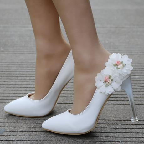 Bílé svatební lodičky, květiny, 34-41, 37