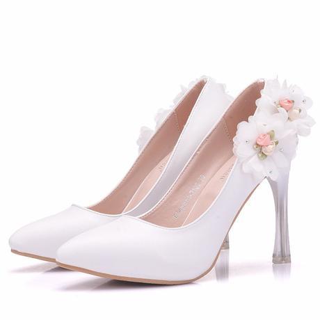 Bílé svatební lodičky, květiny, 34-41, 40