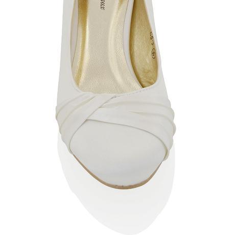 Bílé svatební lodičky, nízký podpatek, 36-42, 37