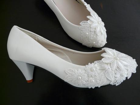 Bílé svatební lodičky, výběr podpatku, 34-39, 38