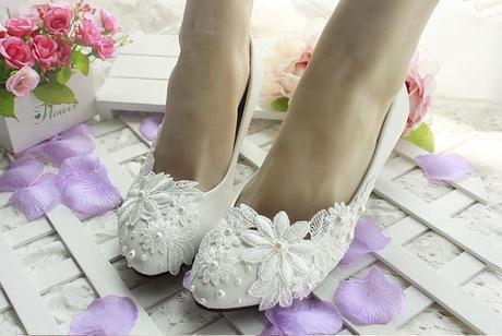 Bílé svatební lodičky, výběr podpatku, 35-41, 36