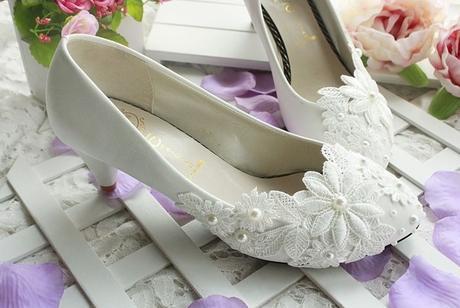 Bílé svatební lodičky, výběr podpatku, 35-41, 37
