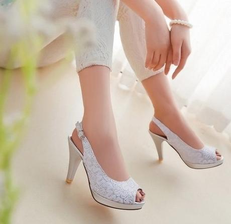 Bílé svatební sandálky, 34-41, 36