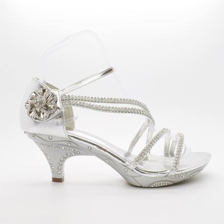 Bílé svatební sandálky, nízký podpatek, 38