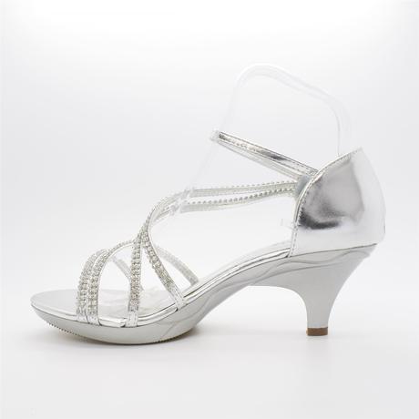 Bílé svatební sandálky, nízký podpatek, 40