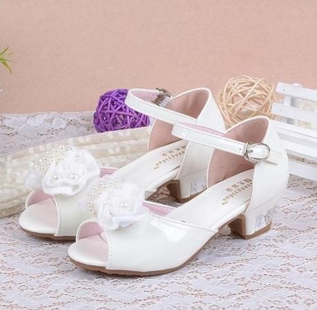 Bílé svatební sandálky pro družičky, 26-37, 27